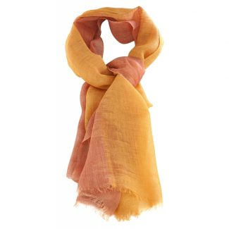 ikat bicolore peche abricot lin karawan
