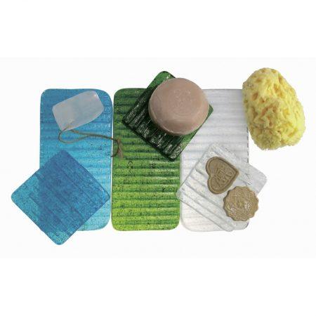 porte-savon rectangle ice verre recyclé soufflé à la bouche karawan