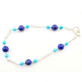 bracelet argent turquoise lapis lazuli