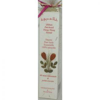 coffret encens huiles essentielles oliban, santal, patchouli, ylang ylang,