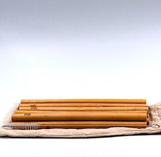 set de 12 pailles bambou réutilisable